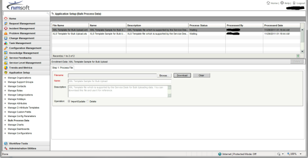 Nimsoft Servicedesk Bulk Upload Screen 1