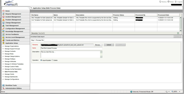 Nimsoft Servicedesk Bulk Upload Select Screen